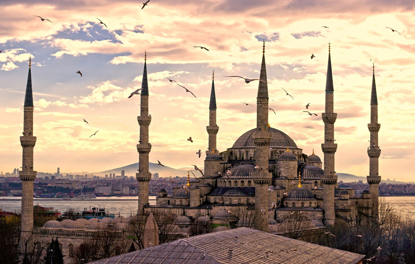 Photo wallpaper the city, panorama, Turkey, Istanbul, Sultanahmet mosque, turkey, Istanbul
