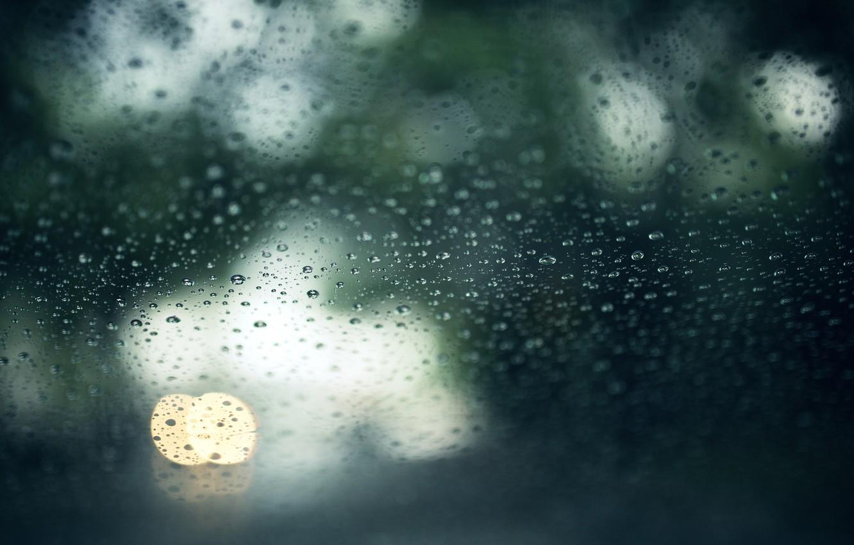 Photo wallpaper glass, drops, macro, wet, bokeh