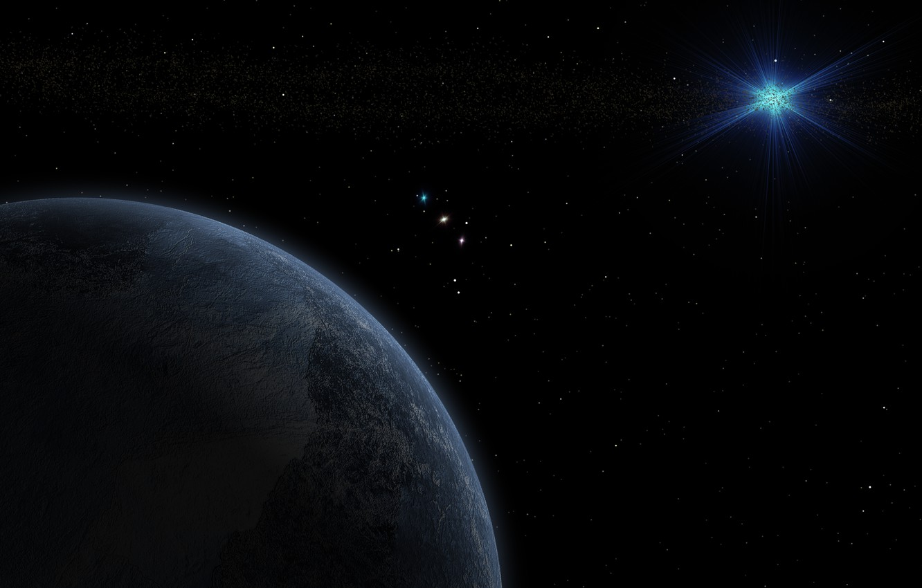 Photo wallpaper stars, space, darkness, planet