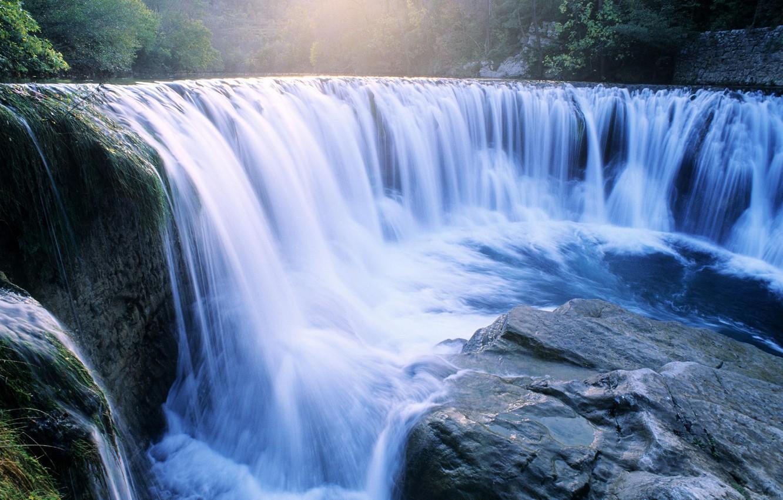Photo wallpaper water, river, stones, Waterfall