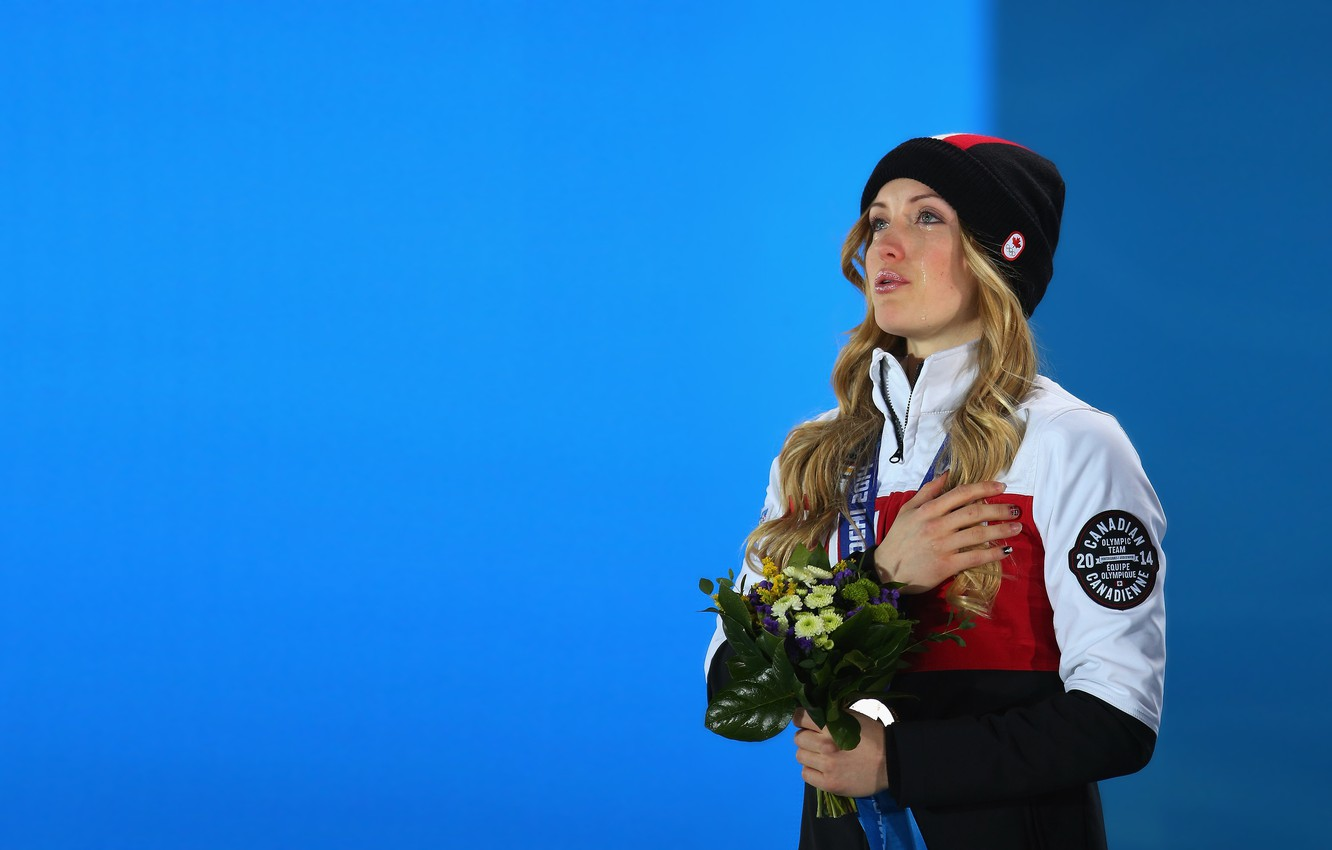 Photo wallpaper look, flowers, blue, emotions, bouquet, jacket, Canada, blonde, athlete, tear, freestyle, Olympic, champion, Sochi, Canadian, …