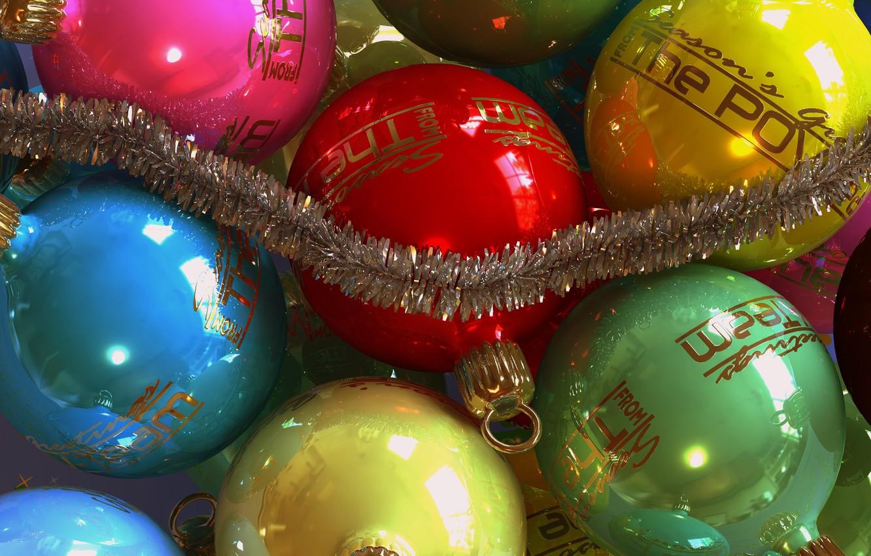 Photo wallpaper balls, Shine, new year, Christmas, garland