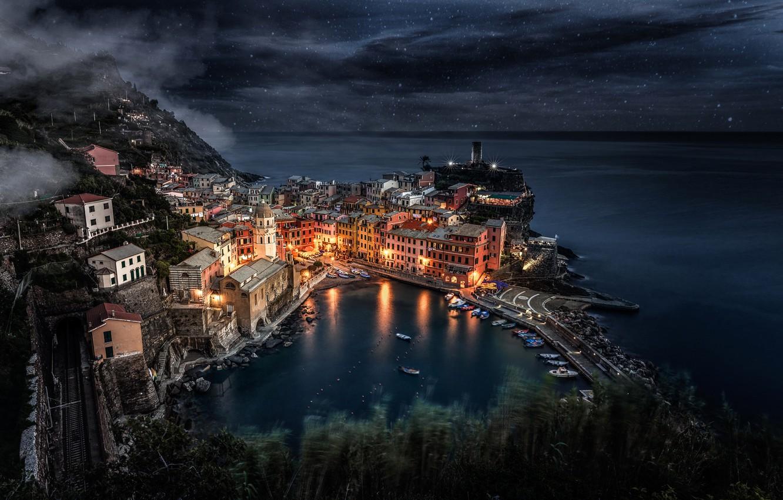 Photo wallpaper sea, the sky, stars, light, night, the city, lights, rocks, home, boats, Italy, Italy, Manarola, …