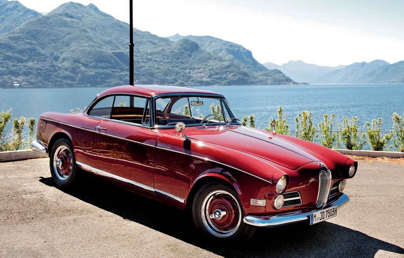 Photo wallpaper the sky, water, mountains, red, coupe, BMW, BMW, classic, Coupe, the front, 503, 1956