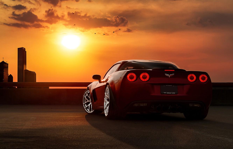 Photo wallpaper auto, the sky, clouds, sunset, machine, tuning, corvette, chevrolet