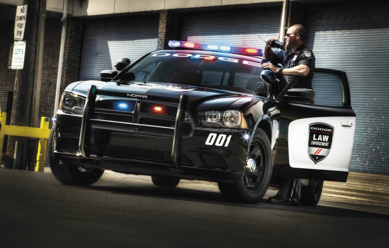 Photo wallpaper police, Dodge, Dodge, Charger, the charger, Law Enforcement, Pursuit, flashing beacons, police, radio