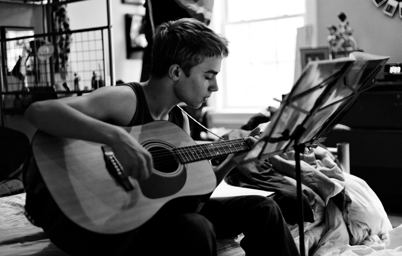 Photo wallpaper notes, room, the game, study, guitar, teen