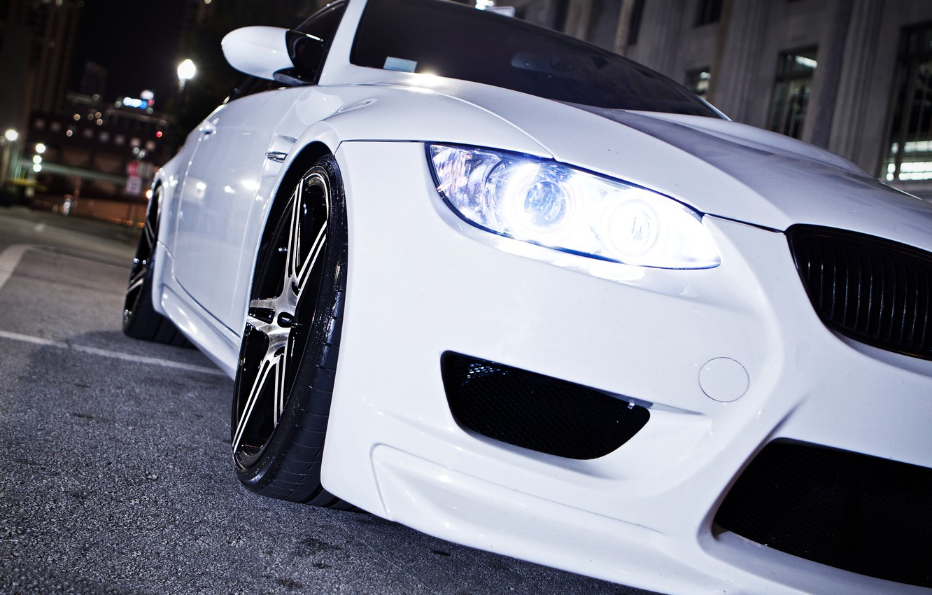 Photo wallpaper white, night, BMW, headlight, BMW, white, e92