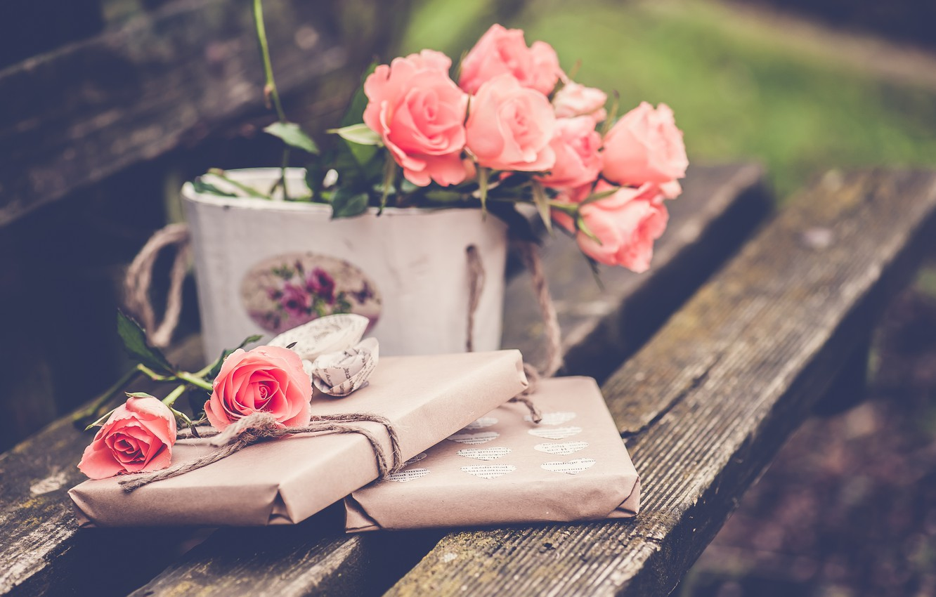 Photo wallpaper flowers, bench, roses