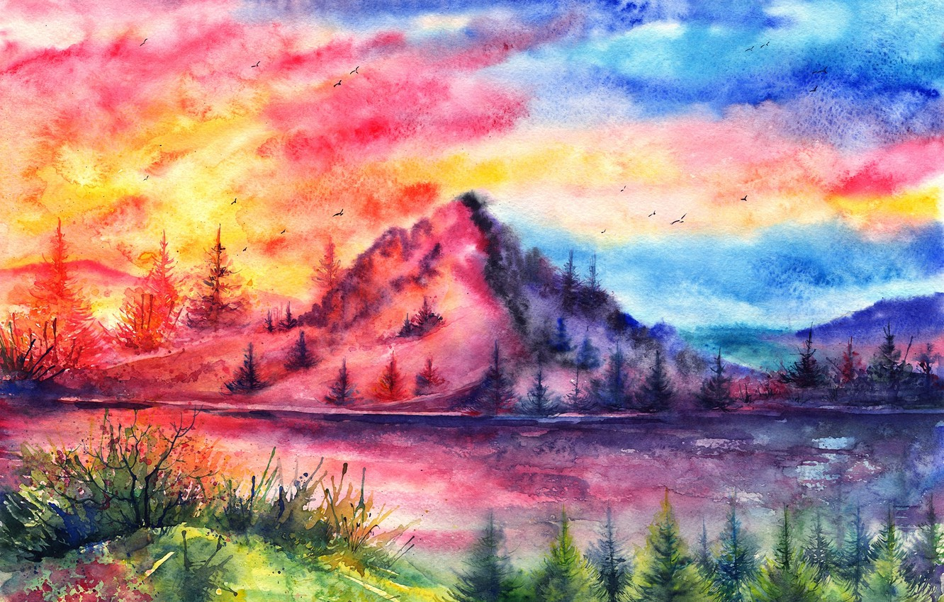 Photo wallpaper sunset, birds, river, mountain, watercolor, tree, painted landscape