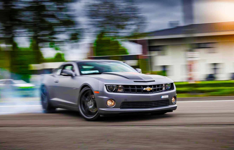 Photo wallpaper Chevrolet, Muscle, Camaro, Car, Sun, Skid, Drifting