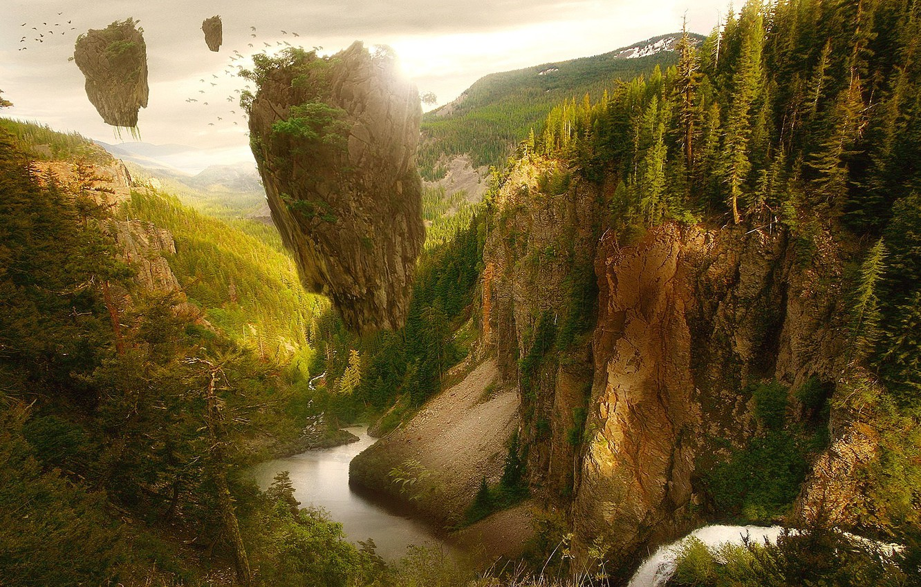 Photo wallpaper forest, trees, birds, river, fantasy, Fantasy, trees, flying islands, flying Islands
