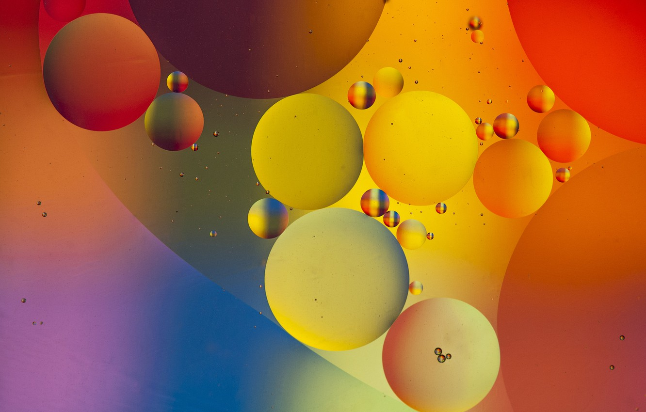 Photo wallpaper water, bubbles, color, oil, liquid, ball, the air, the volume