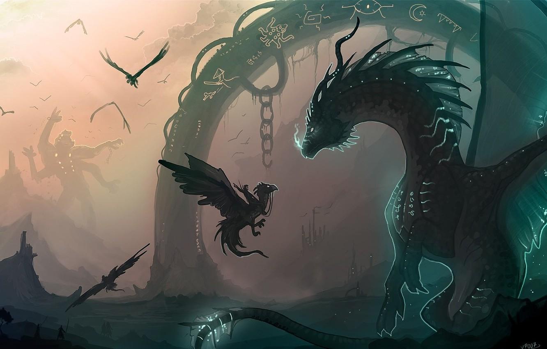 Photo wallpaper magic, monster, dragons, art, arch, giant, rider, cub