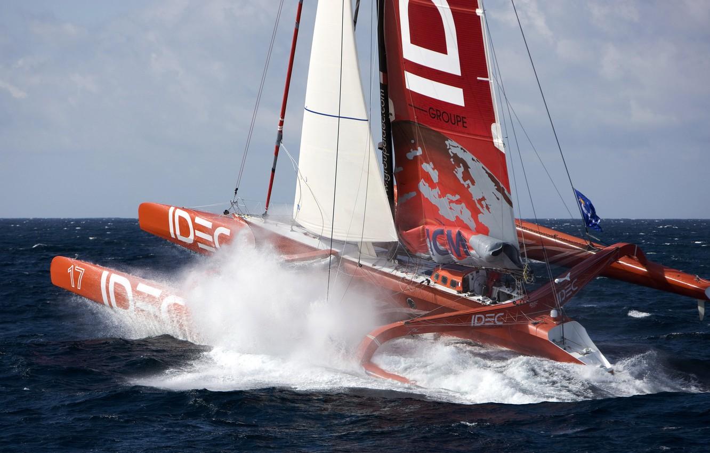 Photo wallpaper sea, wave, photo, ships, sailing, trimaran