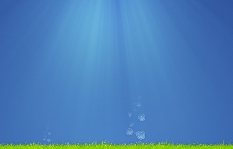 Photo wallpaper sea, grass, water, drops, rays, light, algae, bubbles, creative, mood, the ocean, drop, minimalism, art, …