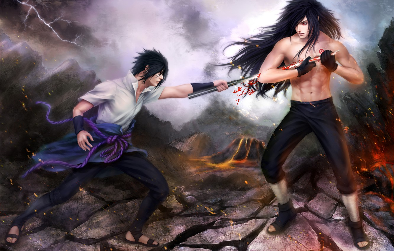 Photo wallpaper the battle, naruto, art, sasuke uchiha, zetsuai89, power uchiha