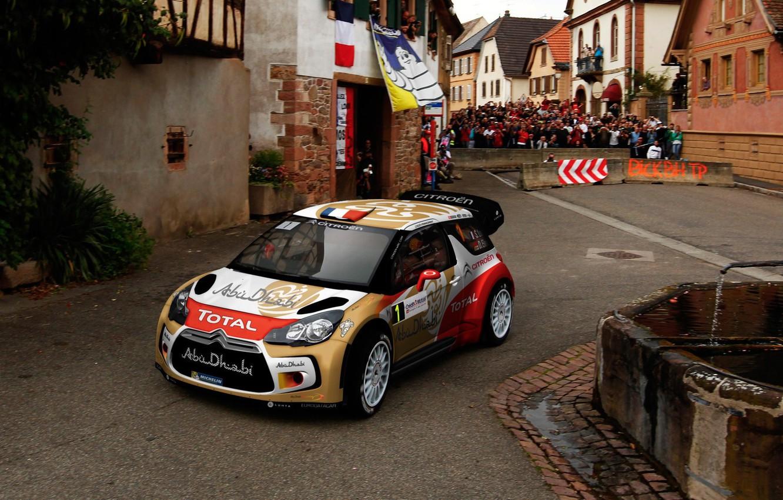 Photo wallpaper The city, Sport, Race, Citroen, DS3, WRC, Rally, Sebastien Loeb, Daniel Elena, People Front