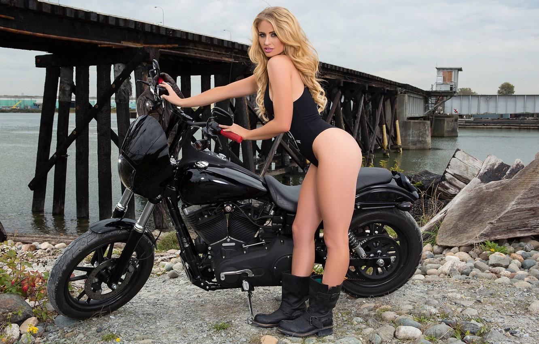 Photo wallpaper girl, black, model, boots, playboy, blonde, motorcycle, girl, biker, bike, model, body, playboyplus, biker, Maya …