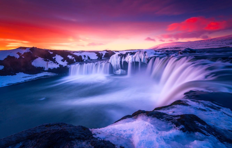 Photo wallpaper Sky, Amazing, Landscape, Sunset, Sunrise, Colors, Iceland, Rocks, Long, Great, Exposure, Islandia