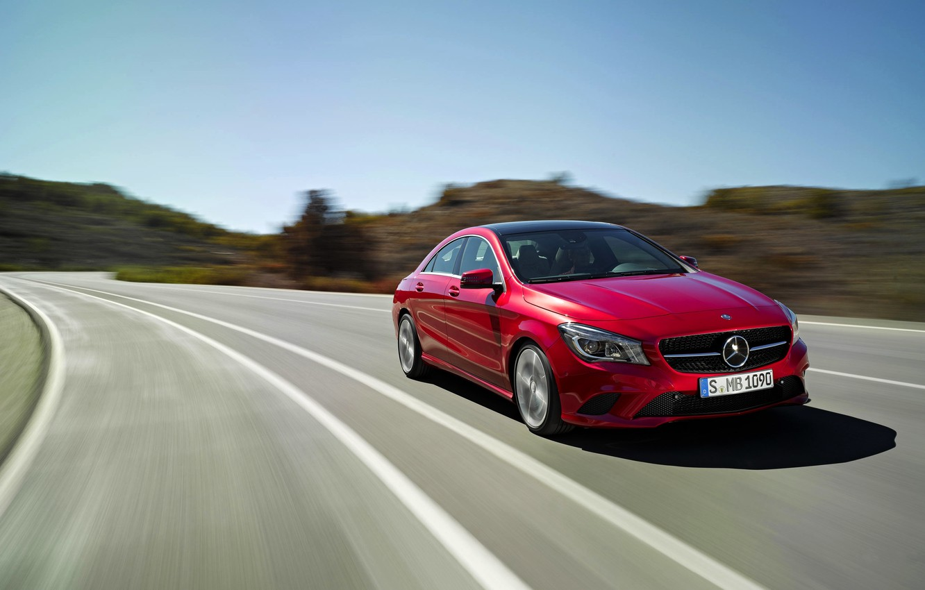 Photo wallpaper Mercedes-Benz, Red, Auto, Road, Car, The front, Class, CLA