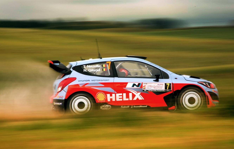 Photo wallpaper Dust, Hyundai, WRC, Rally, i20, Blur, Neuville
