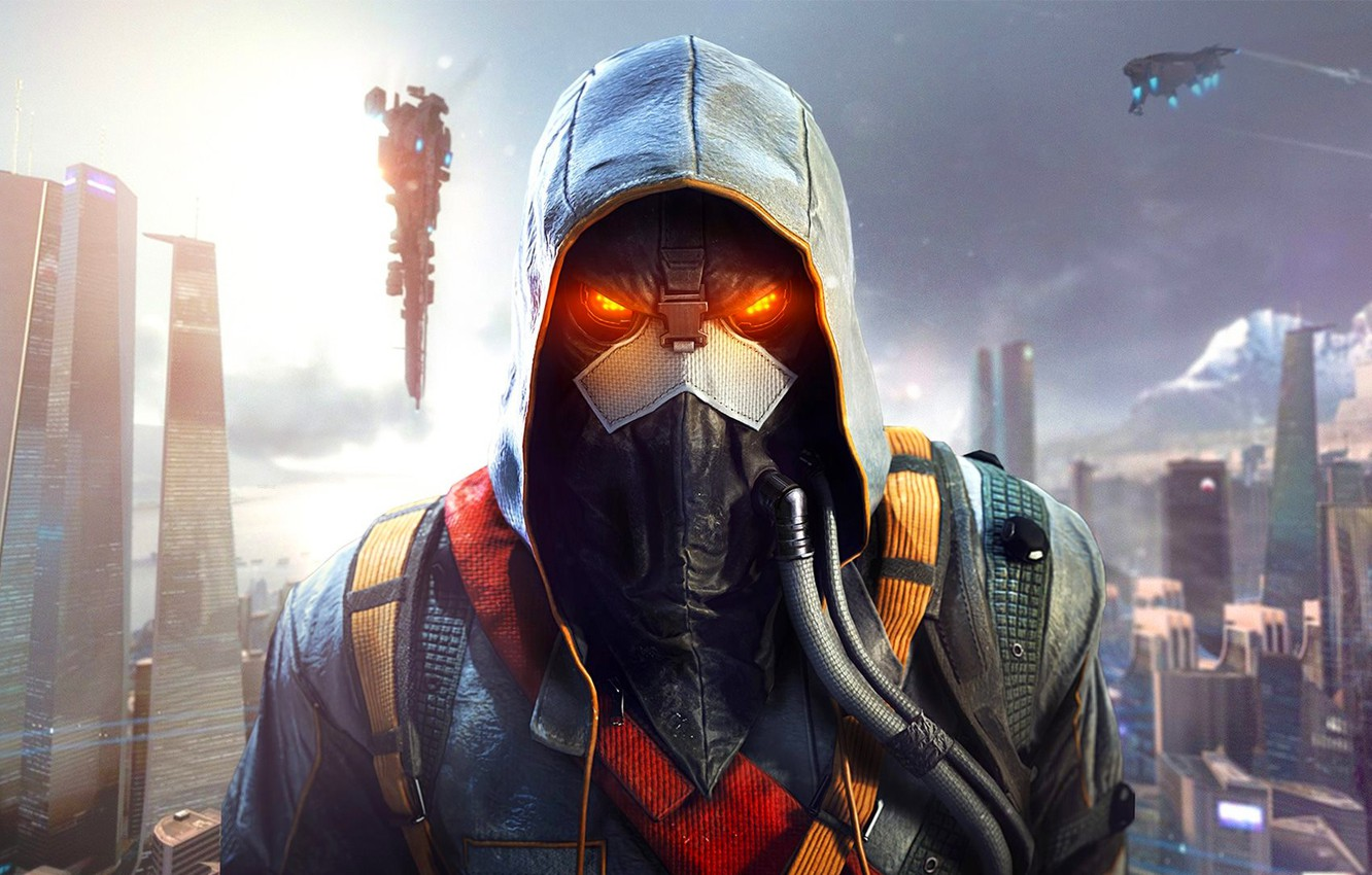 Photo wallpaper the sky, the city, home, mask, soldiers, hood, megapolis, hose, Sony Computer Entertainment, Guerrilla Games, …