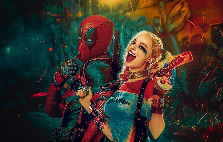 Photo wallpaper Ryan Reynolds, Ryan Reynolds, Deadpool, Marvel, Deadpool, Wade Wilson, Harley Quinn, Margot Robbie, Suicide Squad, …
