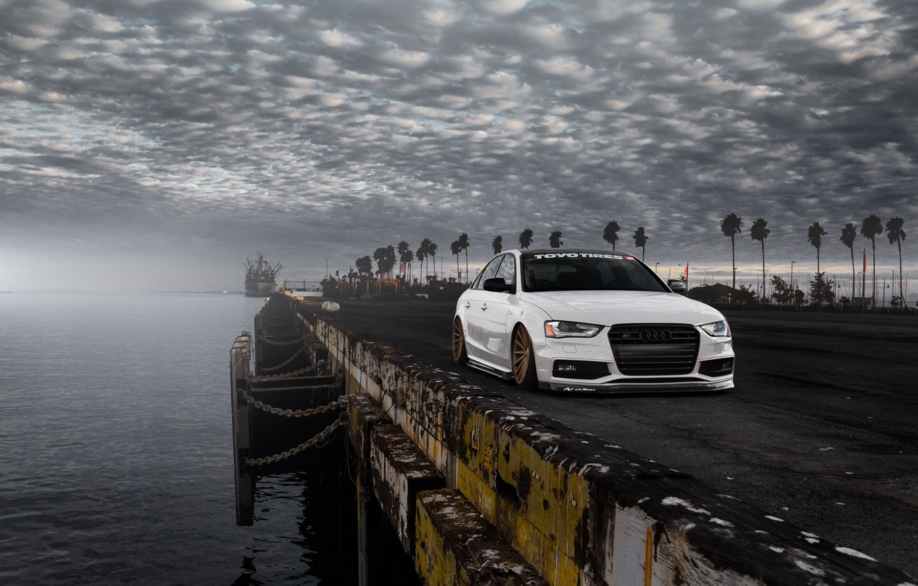 Photo wallpaper Audi, Car, Front, Sunset, White, Stance, Vossen, Wheels, Tuned, Palms, Ligth