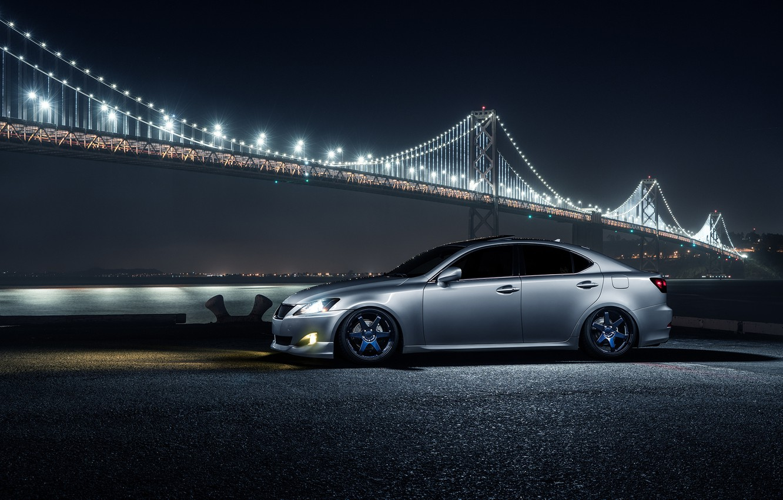Photo wallpaper Lexus, Car, Front, Bridge, Night, Silver