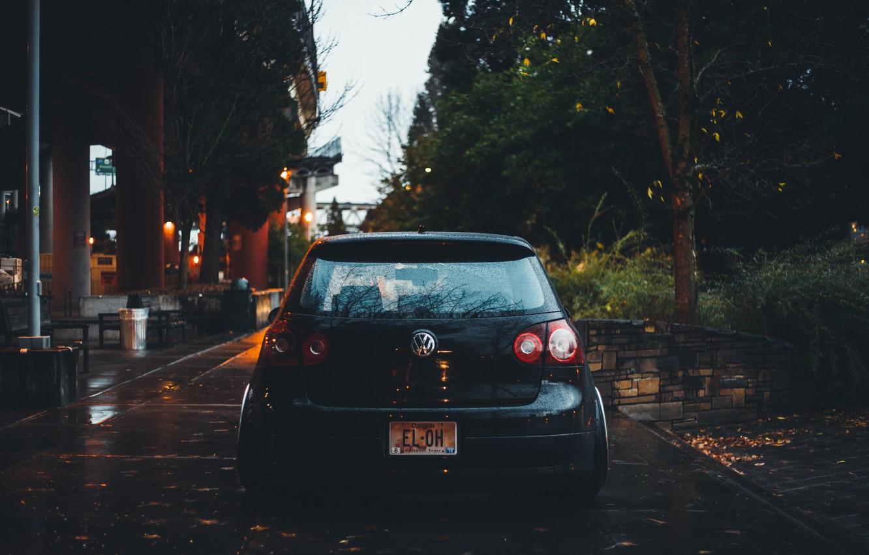 Photo wallpaper leaves, trees, Volkswagen, wheel, back, Golf, stadium