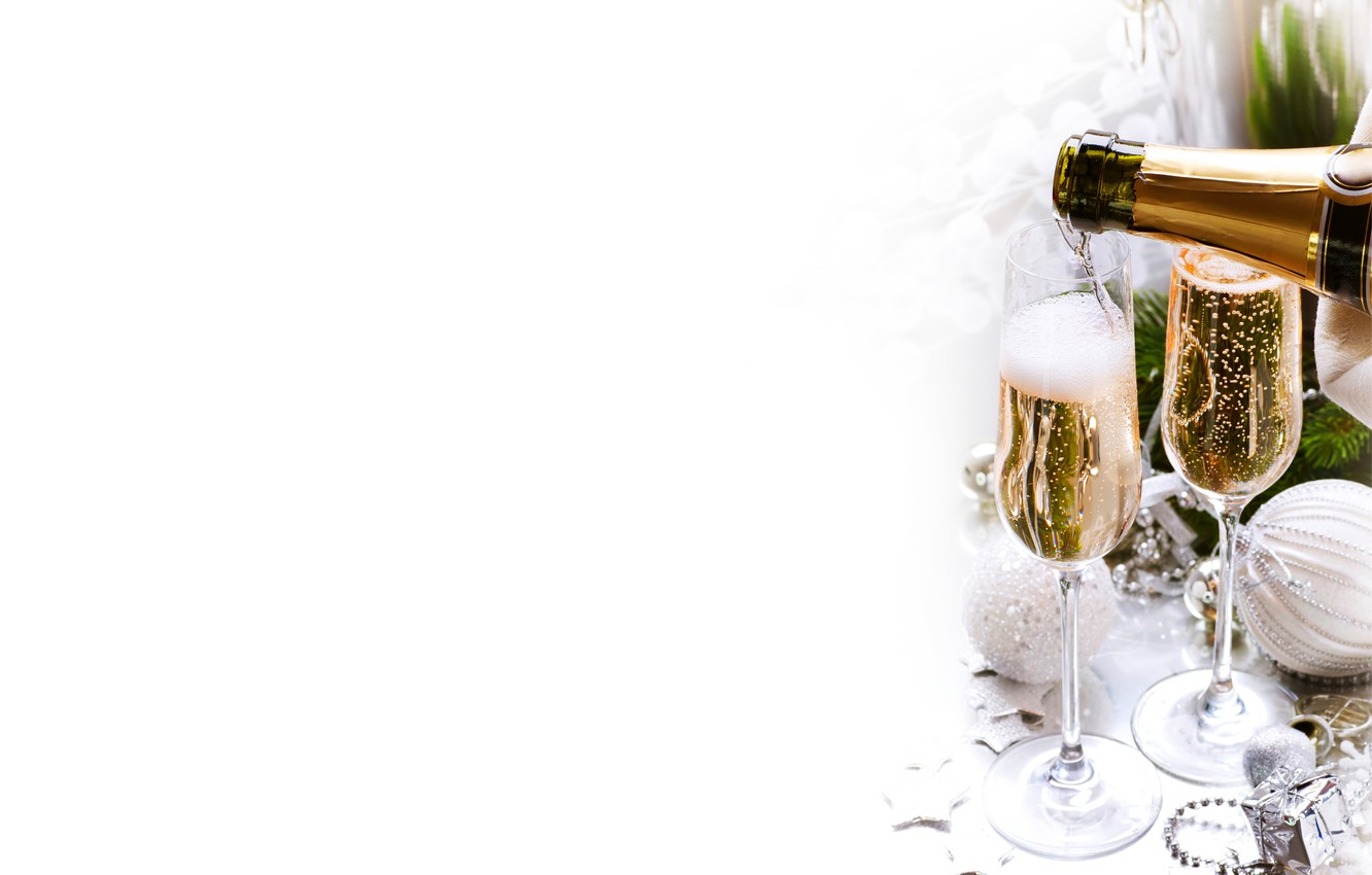Photo wallpaper branches, balls, bottle, new year, Christmas, glasses, tree, drink, the scenery, champagne, holidays, Christmas decorations
