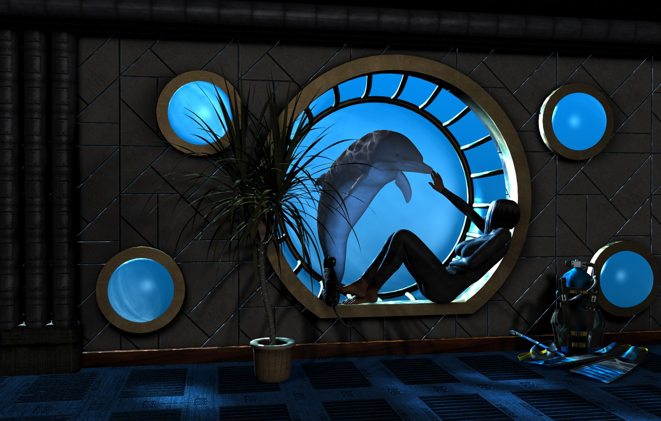 Photo wallpaper water, girl, Dolphin, Palma, rendering, room, window, the window, under water