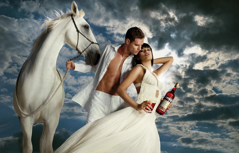 Photo wallpaper white, horse, woman, actress, Eva Mendes, male, Eva Mendes, Campari, campari