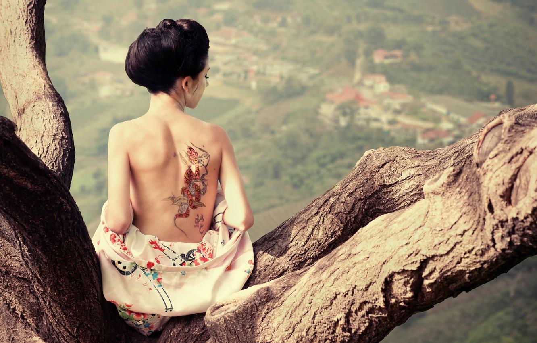 Photo wallpaper tree, back, tattoo, geisha, profile