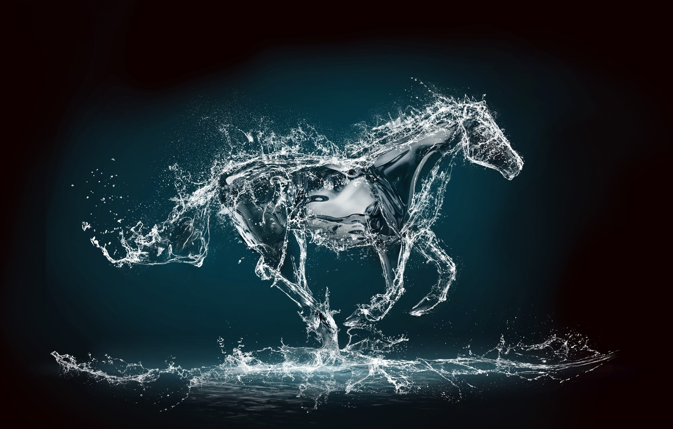 Photo wallpaper water, squirt, rendering, background, horse, jump