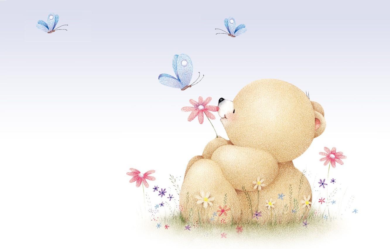Photo wallpaper summer, mood, butterfly, art, bear, children's, Forever Friends Deckchair bear