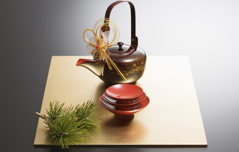 Photo wallpaper Japan, kettle, the tea party, Cup, pine, saucer, tea ceremony, bowl