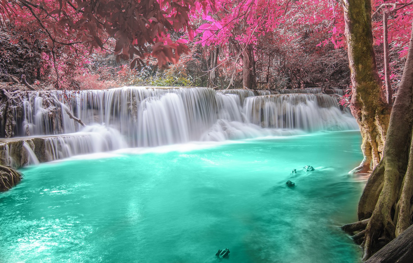 Photo wallpaper autumn, forest, river, waterfall, forest, river, landscape, waterfall, emerald