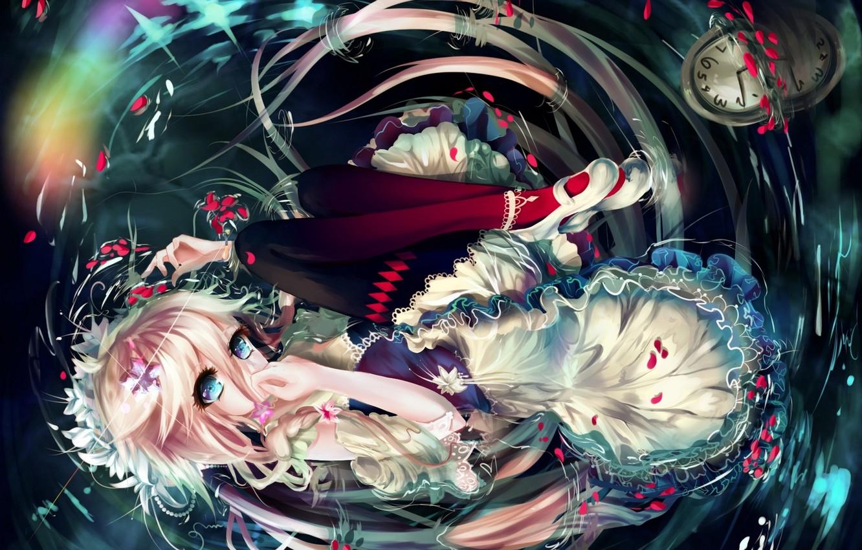 Photo wallpaper water, girl, watch, anime, petals, art, vocaloid, Sygnallost