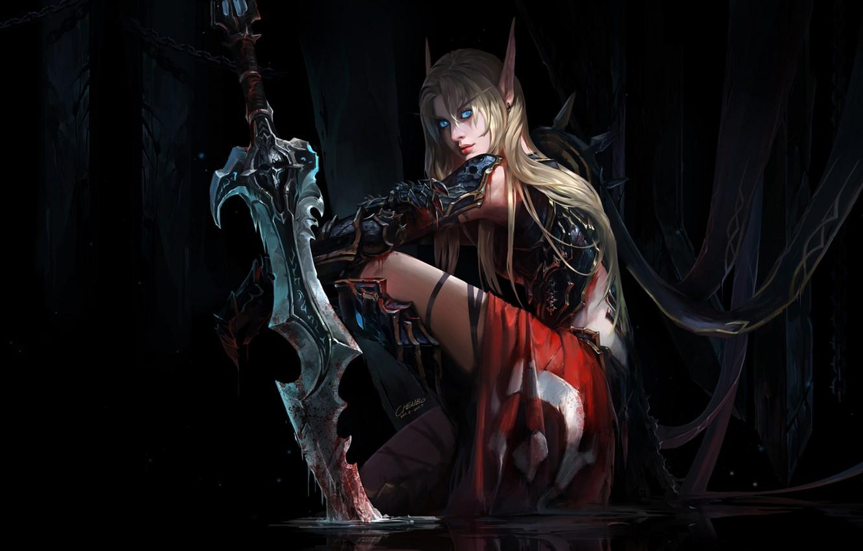 Photo wallpaper girl, figure, sword, fantasy, art, blonde, girl, sword, fantasy, blue eyes, Blizzard, art, blue eyes, …