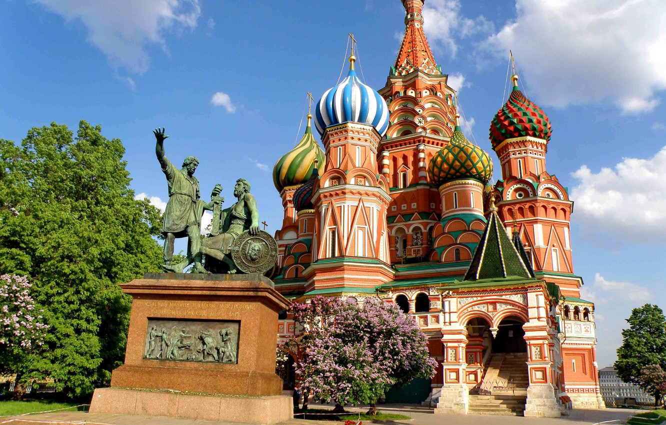 Photo wallpaper greens, summer, the sky, clouds, trees, lawn, beauty, Moscow, temple, The Kremlin, St. Basil's Cathedral, …