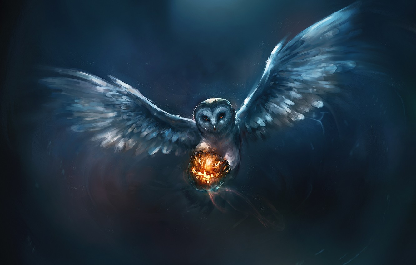 Photo wallpaper owl, Halloween, pumpkin, painting, upscale, Umi Put Say Questioned