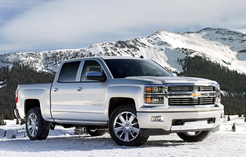 Photo wallpaper machine, snow, mountains, Chevrolet, jeep, pickup, Crew Cab, Silverado, High Country