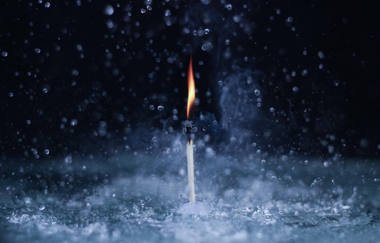 Photo wallpaper water, macro, fire