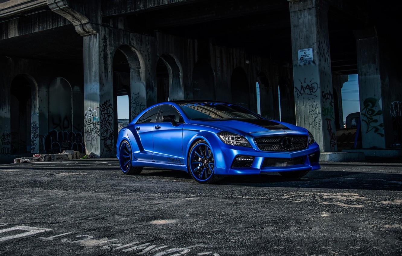 Photo wallpaper Mercedes, Benz, side, blue, CLS550