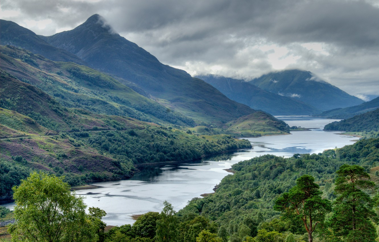Photo wallpaper the sky, water, clouds, mountains, clouds, river, tree, Scotland