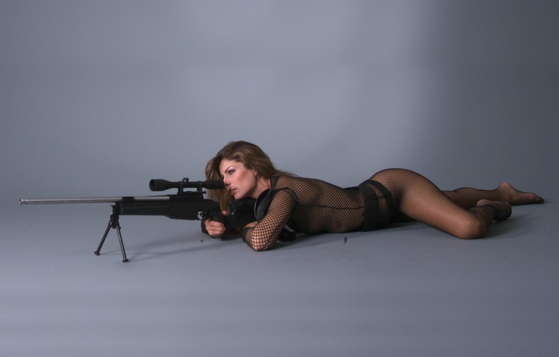 Photo wallpaper body, tights, brown hair, rifle
