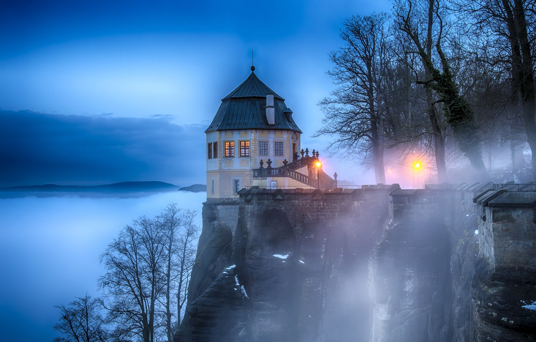 Photo wallpaper trees, lights, fog, rock, Switzerland, lights, fortress, King stone, Königstein