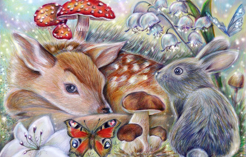 Photo wallpaper butterfly, mushroom, rabbit, art, Bambi, thumper, the little fawn Bambi